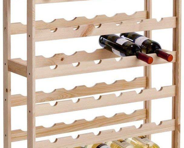Étagères à bouteilles en pin – 118cm